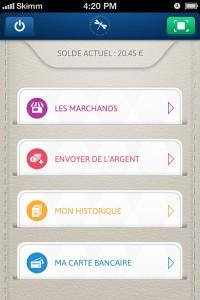 Skimm - menu de l'application