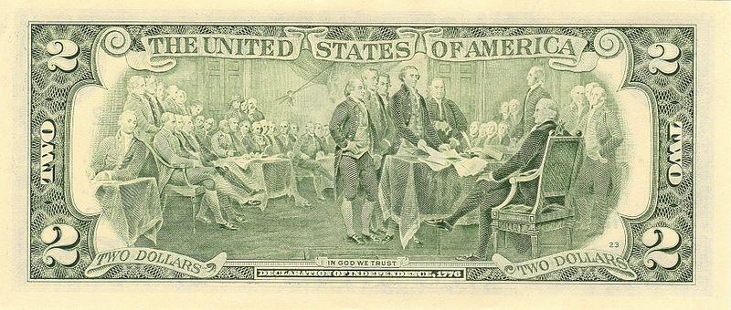 Verso billet 2 dollars américain